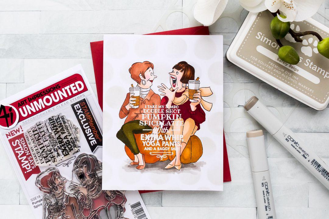 STAMPtember | Art Impressions – I Take My Jumbo Double Shot Pumpkin Spice Latte... Card by Yana Smakula featuring Art Impressions Stamps PUMPKIN SPICE sse18ps STAMPtember Exclusive #yscardmaking #stamptember #simonsaysstamp #artimpressions