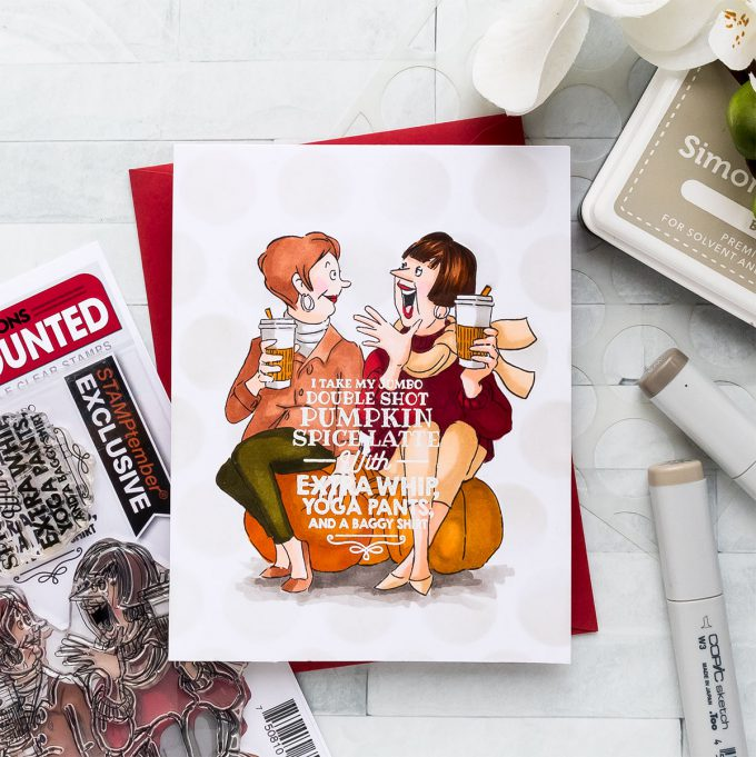 STAMPtember | Art Impressions – I Take My Jumbo Double Shot Pumpkin Spice Latte... Card by Yana Smakula featuring Art Impressions Stamps PUMPKIN SPICE sse18ps STAMPtember Exclusive #yscardmaking #stamptember #simonsaysstamp #artimpressions