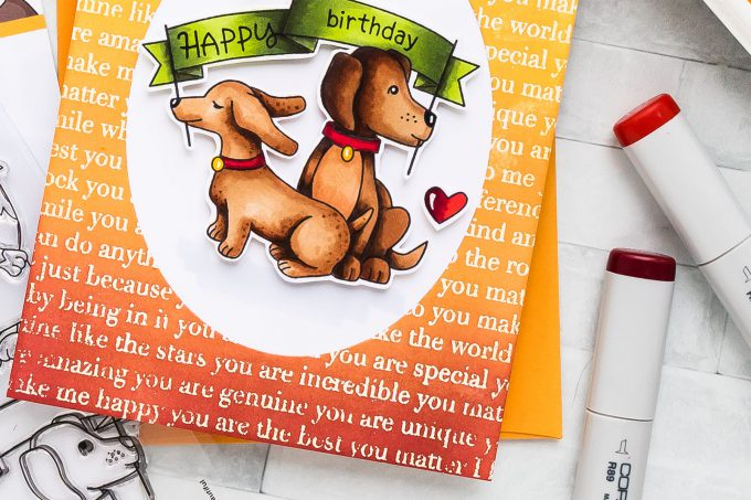 STAMPtember | Newton's Nook - Happy Birthday Puppy Card by Yana Smakula for Simon Says Stamp using Newton's Nook Clear Stamps HELLO BEAUTIFUL sss101933 STAMPtember Exclusive #yscardmaking #stamping #stamptember #simonsaysstamp