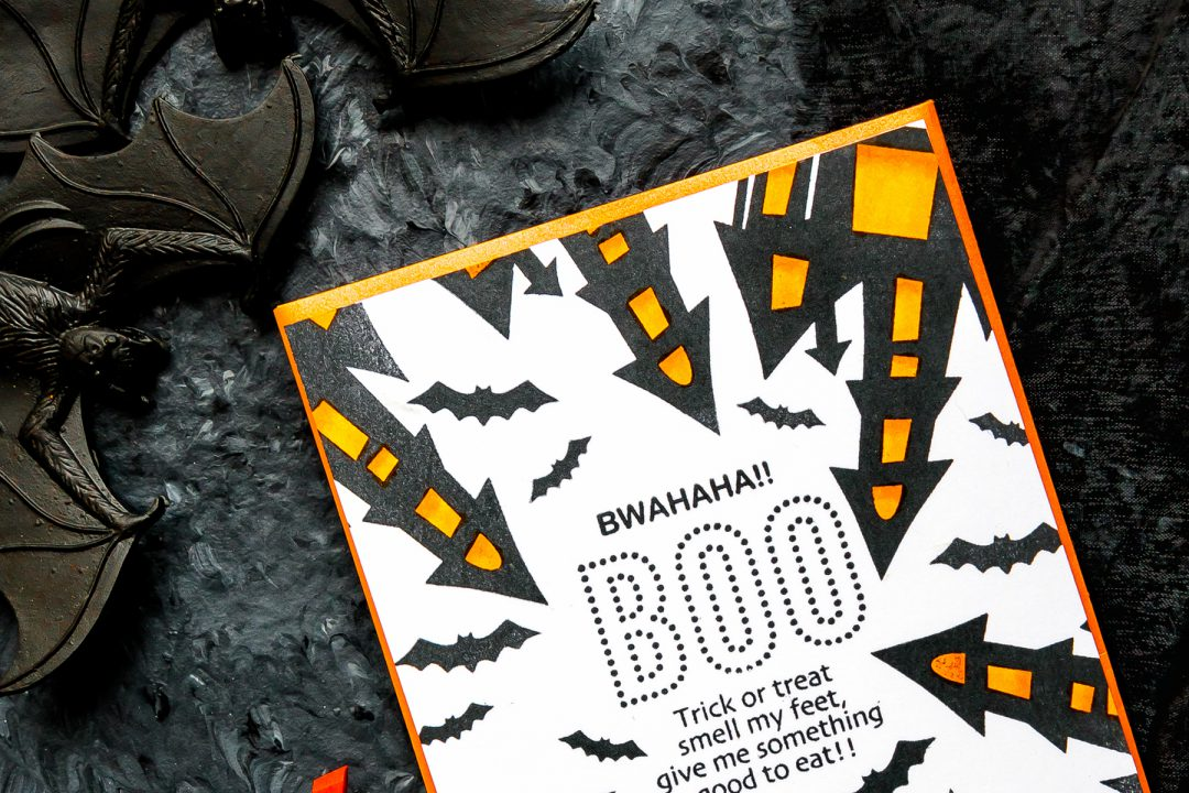 STAMPtember | Trick or Treat Smell My Feet. One Layer Halloween Card with Simon Says Stamp BWAHAHA sss101879 stamp set #yscadmaking #halloweencard #halloweenstationery #halloweencardmaking #halloweenDIY #halloween