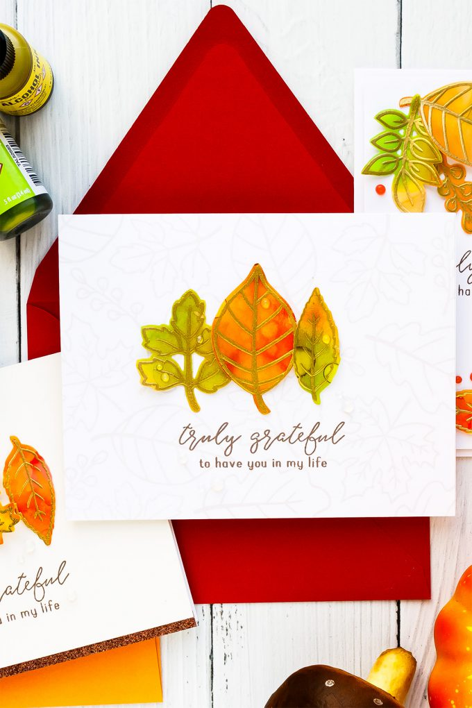 Alcohol Ink Fall Leaves Clean & Simple Gratitude Cards with Reverse Confetti Fall Foliage stamp set. Video tutorial by Yana Smakula #yscardmaking #alcoholink #fallcard #autumncard #gratitudecard #thanksgivingcard #happymail #diycard