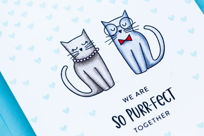 STAMPtember 2018 | We Are So Purr-Fect Together Card by Yana Smakula using Right Meow stamp set by Simon Says Stamp #yscardmaking #onelayercard #catcard #catlove #catitude