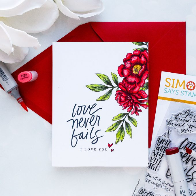STAMPtember | Beautiful Flowers 2 by Simon Says Stamp - Handmade Floral Cards featuring Pencil & Copic Coloring by Yana #stamptember #simonsaysstamp #yscardmaking #handmadecard