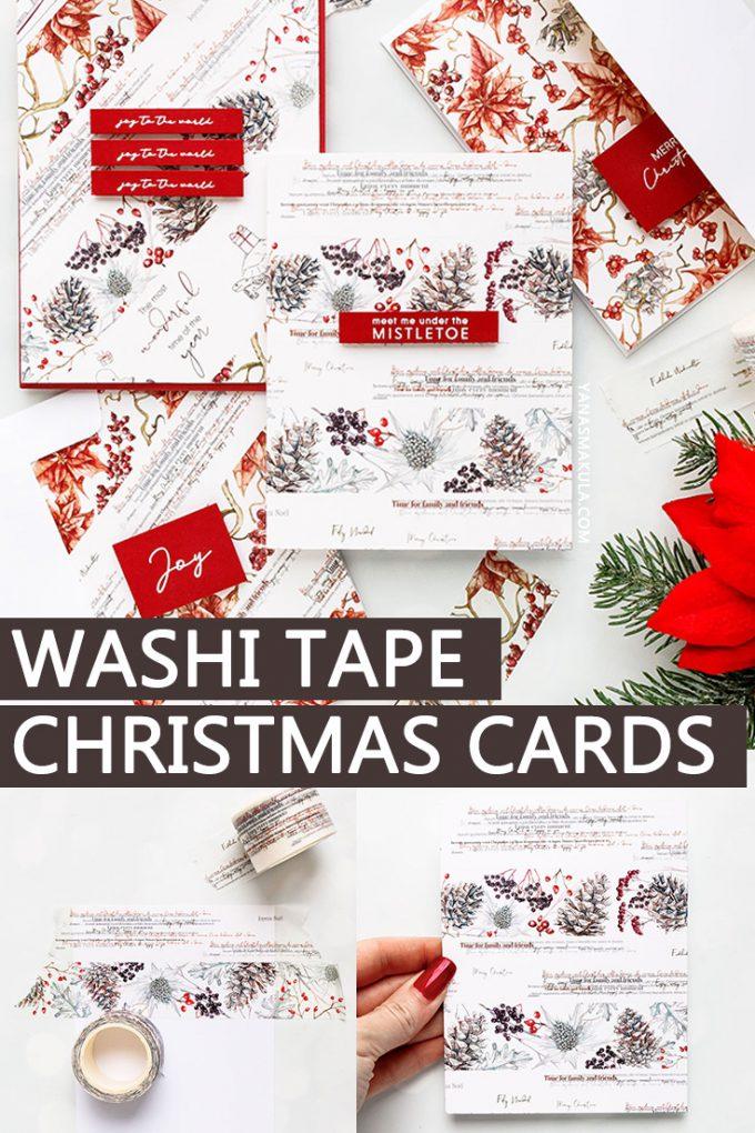 How to make Christmas cards using washi tape. Alexandra Renke | Super Easy Washi Tape Christmas Cards. Video tutorial #cardmaking #christmasmail