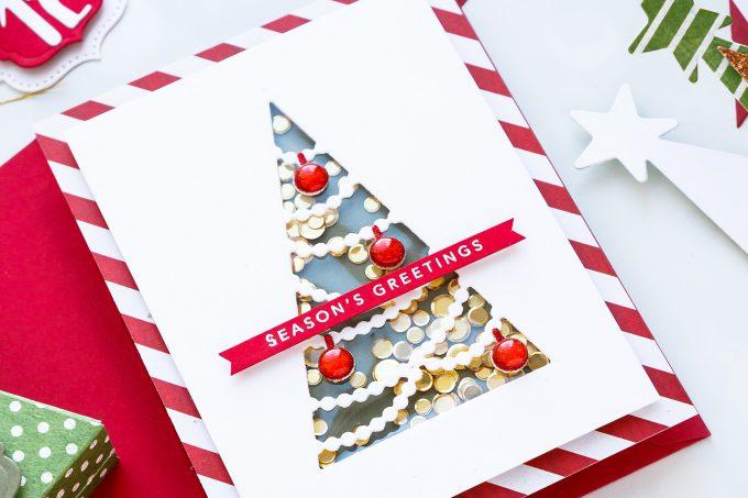 Seasons Greetings Christmas Shaker Card by Yana Smakula using Spellbinders November 2018 Large Die of the Month #diecutting #shakercard