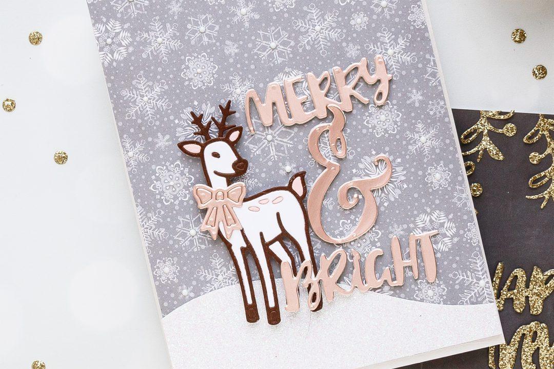 Merry & Brights Christmas Deer Card by Yana Smakula using Spellbinders 2018 November Small Die of the Month #cardmaking #christmascard