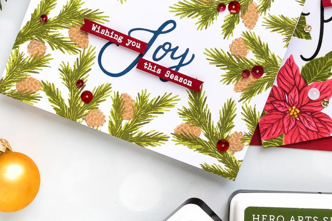 How to make a poinsettia Christmas Card using stamps and inks. Video Tutorial. Hero Arts | Framed Holiday Cards. Color Layering With Yana Series - Christmas Edition. Video #cardmaking #christmas