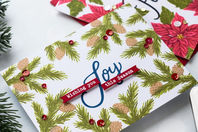 How to make a poinsettia Christmas Card using stamps and inks. Video Tutorial. Hero Arts   Framed Holiday Cards. Color Layering With Yana Series - Christmas Edition. Video #cardmaking #christmas