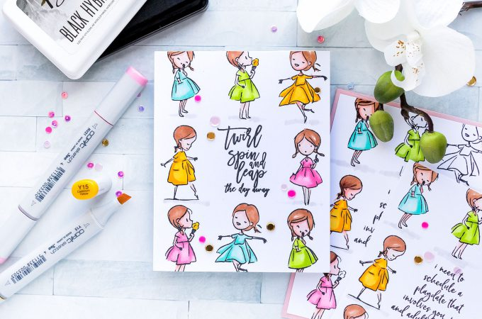 Picket Fence Studios | One Layer Girly Cards with Simple Coloring. Video tutorial by Yana Smakula #yscardmaking #cardmaking #stamping #onelayercard #picketfencestudios