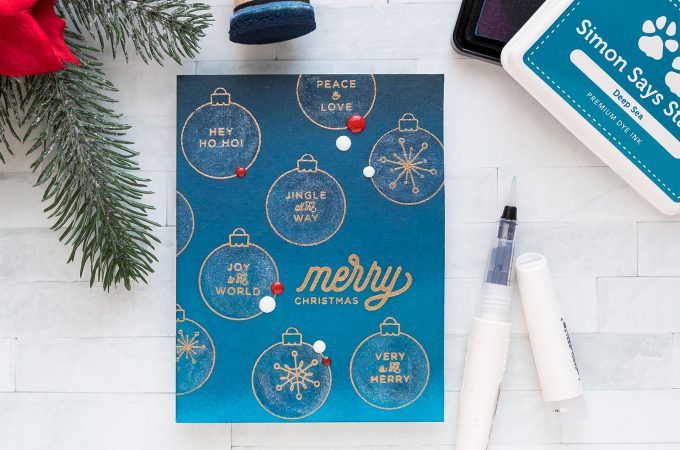 Simon Says Stamp   Coloring with Shimmer Pen. One Layer Christmas Card. Video (Blog Hop + Giveaway)