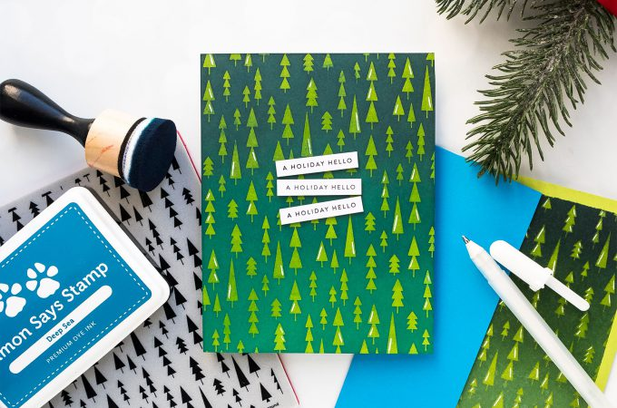 Simon Says Stamp | Modern Christmas Card with Mod Tress Background. Video tutorial #yscardmaking #simonsaysstamp #christmascard