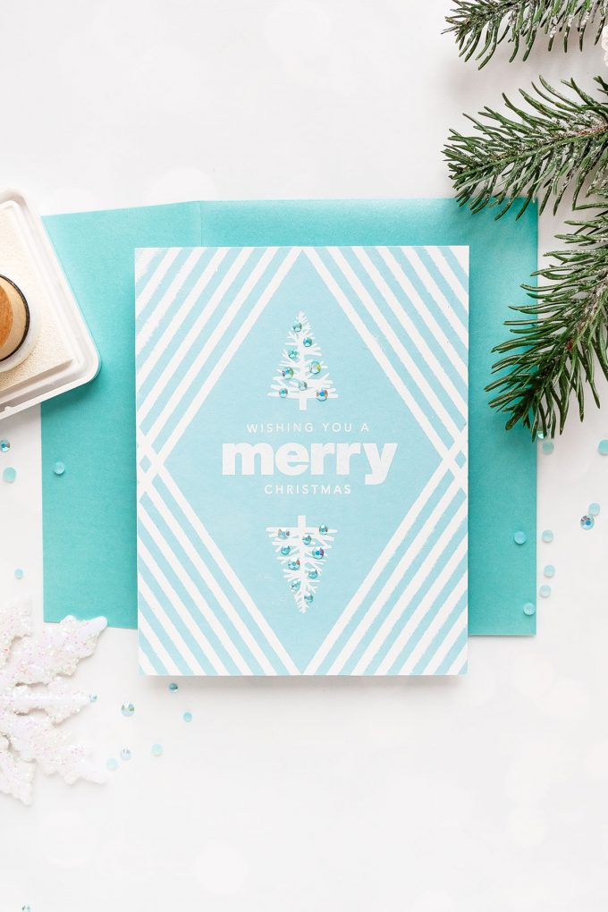 How to make a Clean & Simple Christmas card using stamps, stencils, ink and embossing powder. Simon Says Stamp | Mirrored Holiday Card Design. Simple Christmas Heat Embossing Idea.