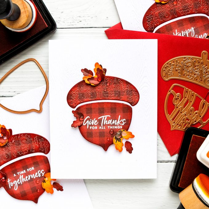 How to make Fall Acorn Cards. Video tutorial. Spellbinders | Fall Acorn Cards (Die Cutting + Hot Foil). Small Die of the Month. #cardmaking #spellbinders