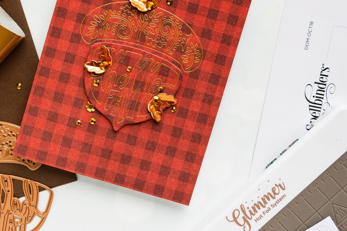 How to make Fall Acorn Cards. Video tutorial. Spellbinders | Fall Acorn Cards (Die Cutting + Hot Foil). Small Die of the Month. #cardmaking #spellbinders