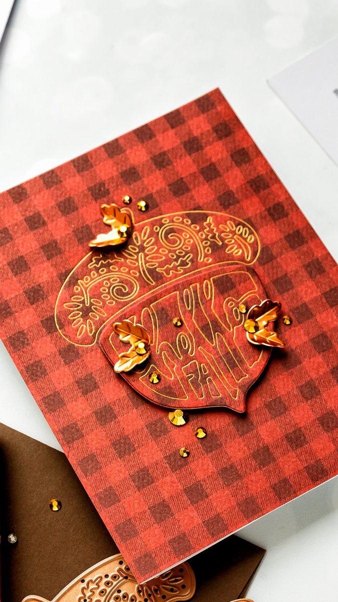 Spellbinders | Fall Acorn Cards (Die Cutting + Hot Foil). Small Die of the Month. Video