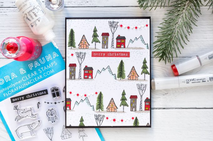 How to stamp a one layer Christmas Village card. Flora & Fauna | One Layer Holiday Village Card. Photo Tutorial featuring Woodland Snowglobe stamp set #cardmaking #christmascard