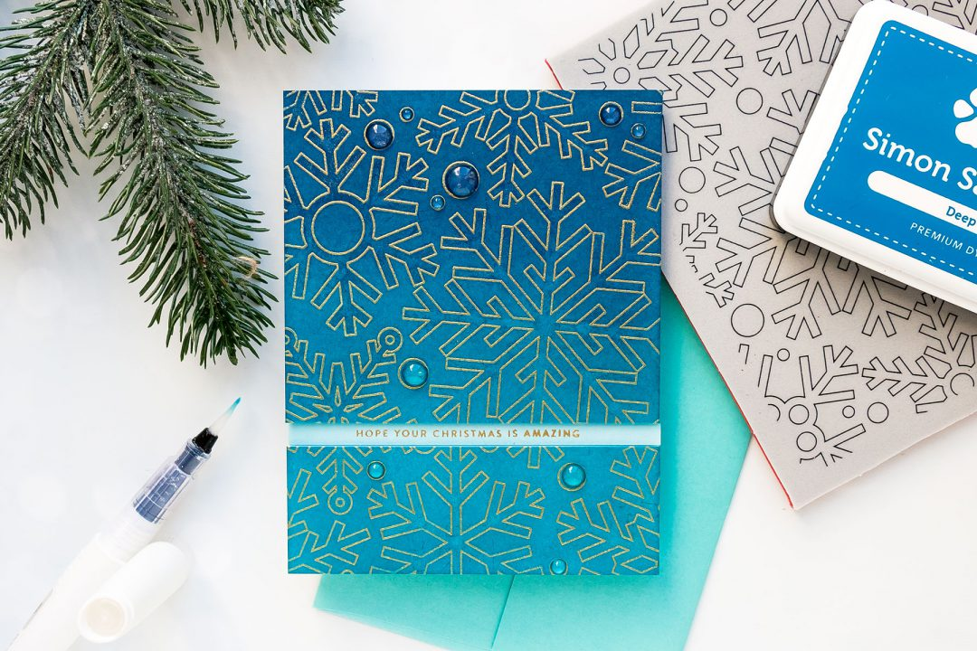 How to create a simple Christmas card with a snowflake background. Handmade card by Yana Smakula using OUTLINE SNOWFLAKES sss101889 and TINY WORDS CHRISTMAS sss101893 #christmascard #cardmaking