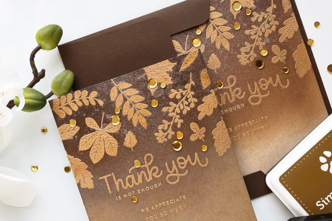 How to make Fall Thank You cards. Simon Says Stamp | Fall Thank You Cards featuring Ink Blending & Heat Embossing #cardmaking #simonsaystamp