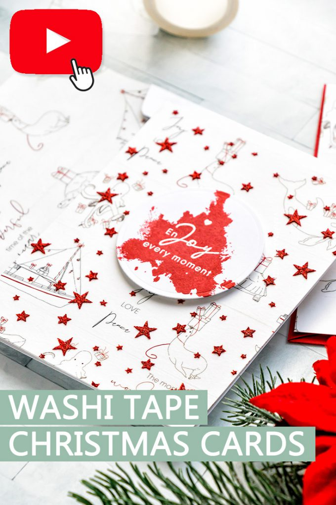 Alexandra Renke | Washi Tape & Glimmer Paste Easy Holiday Card. Video tutorial by Yana Smakula #cardmaking #washilove #christmascard
