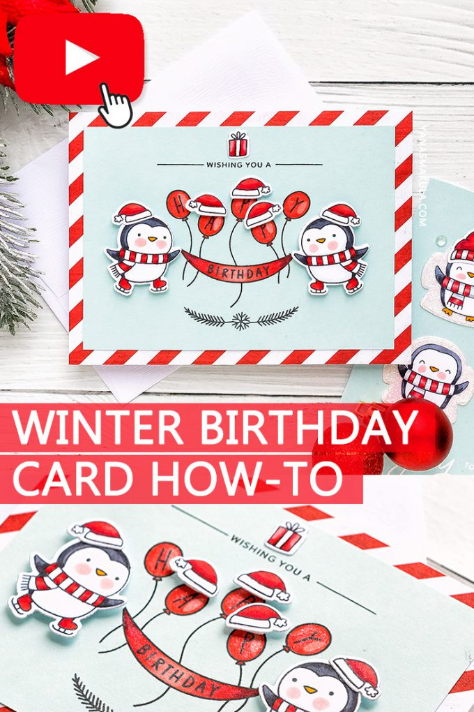How to make a Winter Birthday Penguin Card. Video tutorial. Pretty Pink Posh Penguins Pals stamps. #winterbirthday #wintercard #penguincard