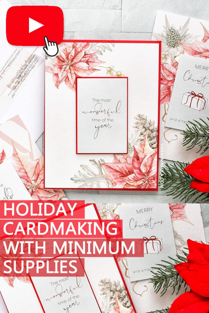 How to make Holiday Christmas cards using patterned paper only. Christmas cards using minimal supplies.