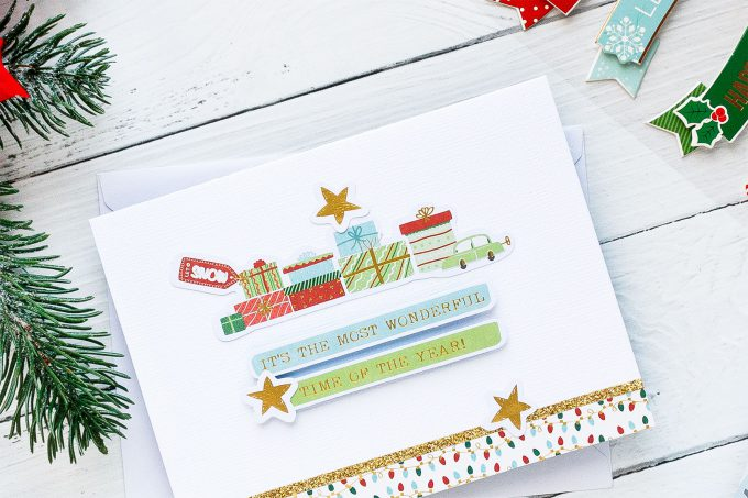"""It's The Most Wonderful Time Handmade Holiday Card created using Spellbinders """"Deer"""" Santa Card Kit Extras! Visit my blog for quick video tutorial to learn how to make these cards."""