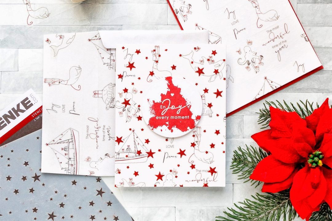 Alexandra Renke | Washi Tape & Glimmer Paste Easy Holiday Card. Video tutorial by Yana Smakula #cardmaking #washilove #christmascard