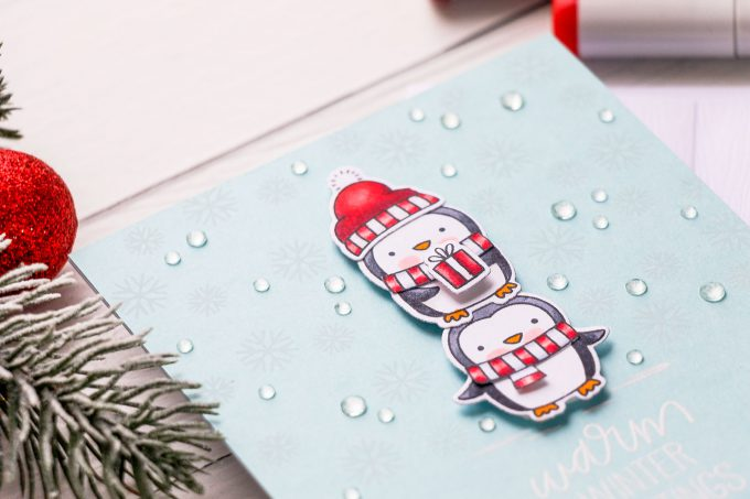 How to make a Winter Wishes Penguin Card. Video tutorial. Pretty Pink Posh Penguins Pals stamps. #winterbirthday #wintercard #penguincard