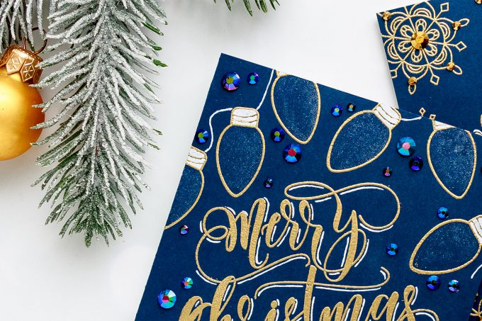 How to make Calligraphy-Like Christmas Cards with stamps. Video tutorial. #fauxcalligraphy #christmascard #cardmaking #simonsaysstamp