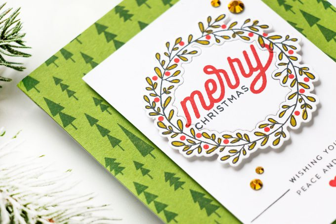 How to make a classic Christmas Wreath Card using stamps & inks. Merry Christmas card by Yana Smakula for Simon Says Stamp #christmascard #DIYChristmasCard