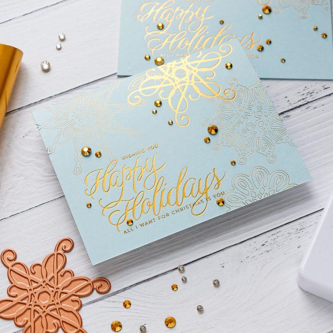 How to Hot Foil with Spellbinders Glimmer Hot Foil System - video tutorial by Yana Smakula #hotfoil #christmascard #glimmerhotfoilsystem