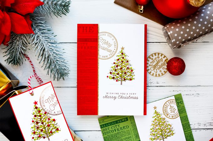 Last Minute Handmade Christmas Cards. Video tutorial. Projects by Yana Smakula for Hero Arts