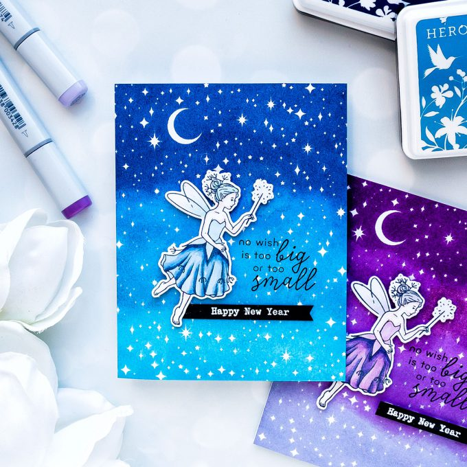Hero Arts | Ombre Fairy Tale New Year Cards. December 2018 My Monthly Hero Kit. Video (Blog Hop + Giveaway). Handmade cards by Yana Smakula