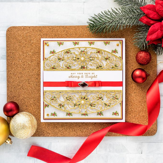 Traditional Christmas Card by Yana Smakula for Spellbinders featuring A Charming Christmas collection by Becca Feeken. As Seen in Die-cutting Essentials Issue 45.