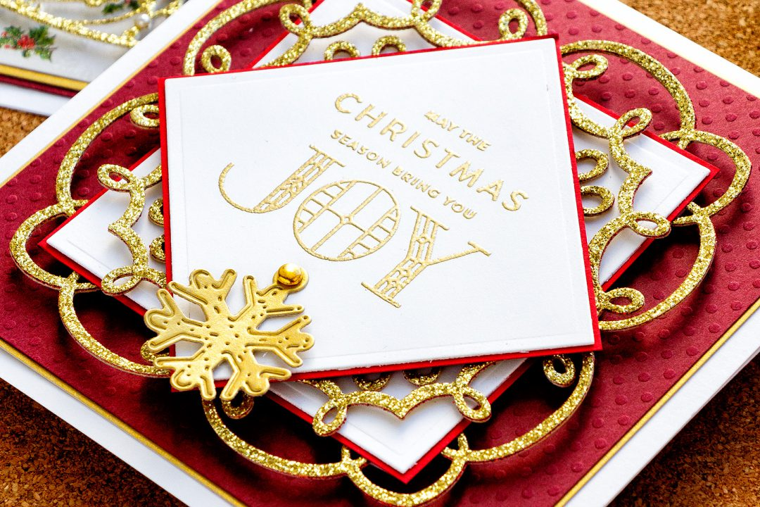 Traditional Style Christmas Joy Card by Yana Smakula for Spellbinders. As Seen in Die-cutting Essentials Magazine Issue 45