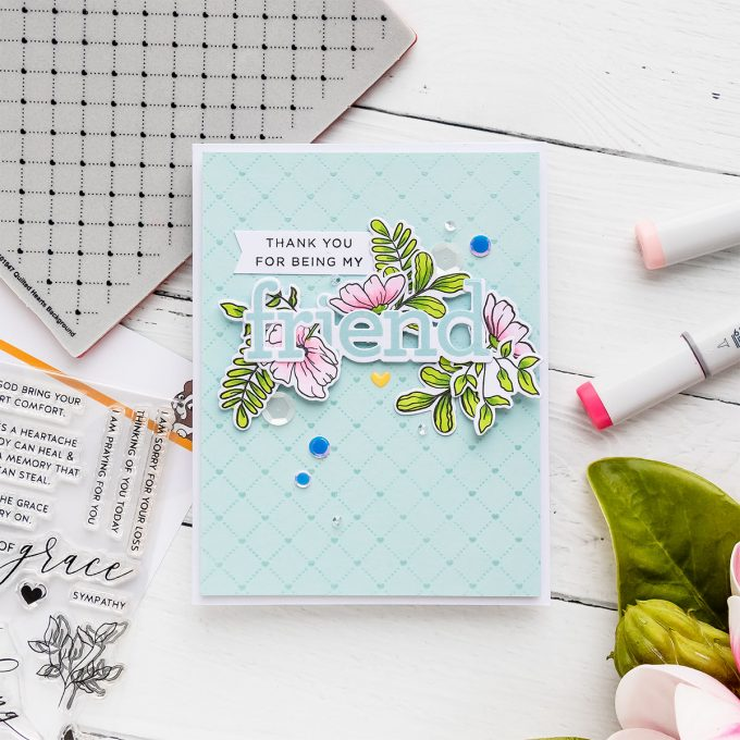 Simon Says Stamp | Clean & Simple Floral Friendship Card - Thank You For Being My Friend. Video tutorial by Yana Smakula