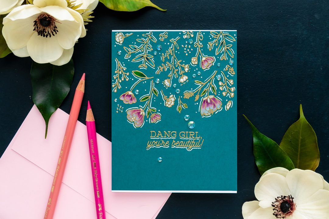 Hero Arts   One Layer Floral Pencil Colored Card. Video