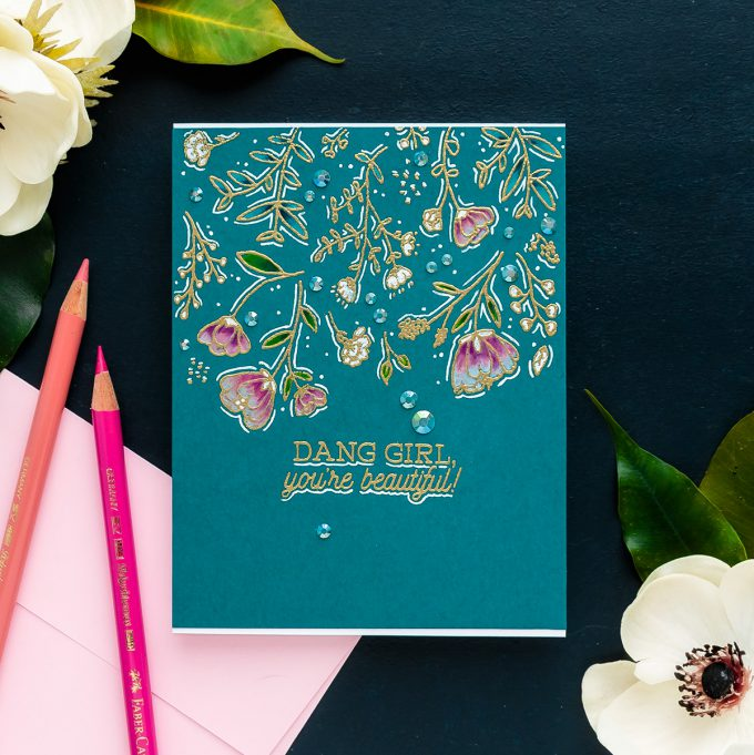 Hero Arts | One Layer Floral Pencil Colored Card. Video