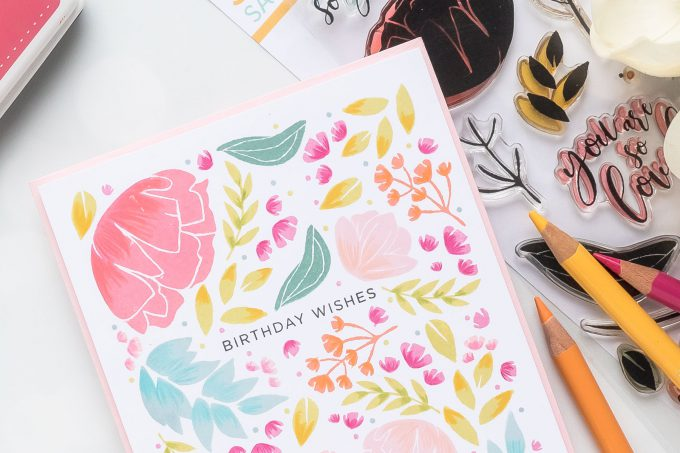 One Layer Floral Birthday Card with Simon Says Stamp So Loved stamp set. Video tutorial by Yana Smakula