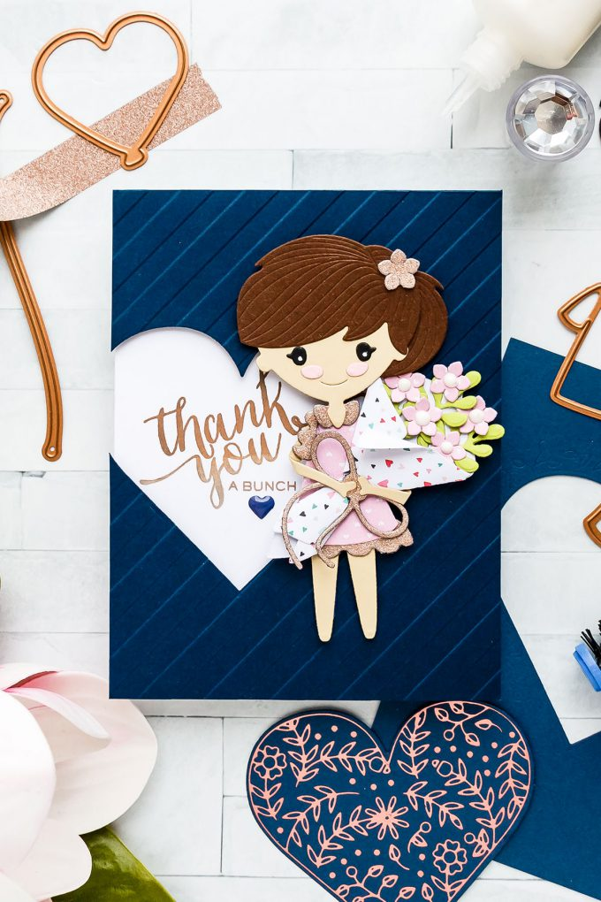 Paper Doll Thank You a Bunch Paper Doll cards with Spellbinders Small & Large Die of the Month January 2019