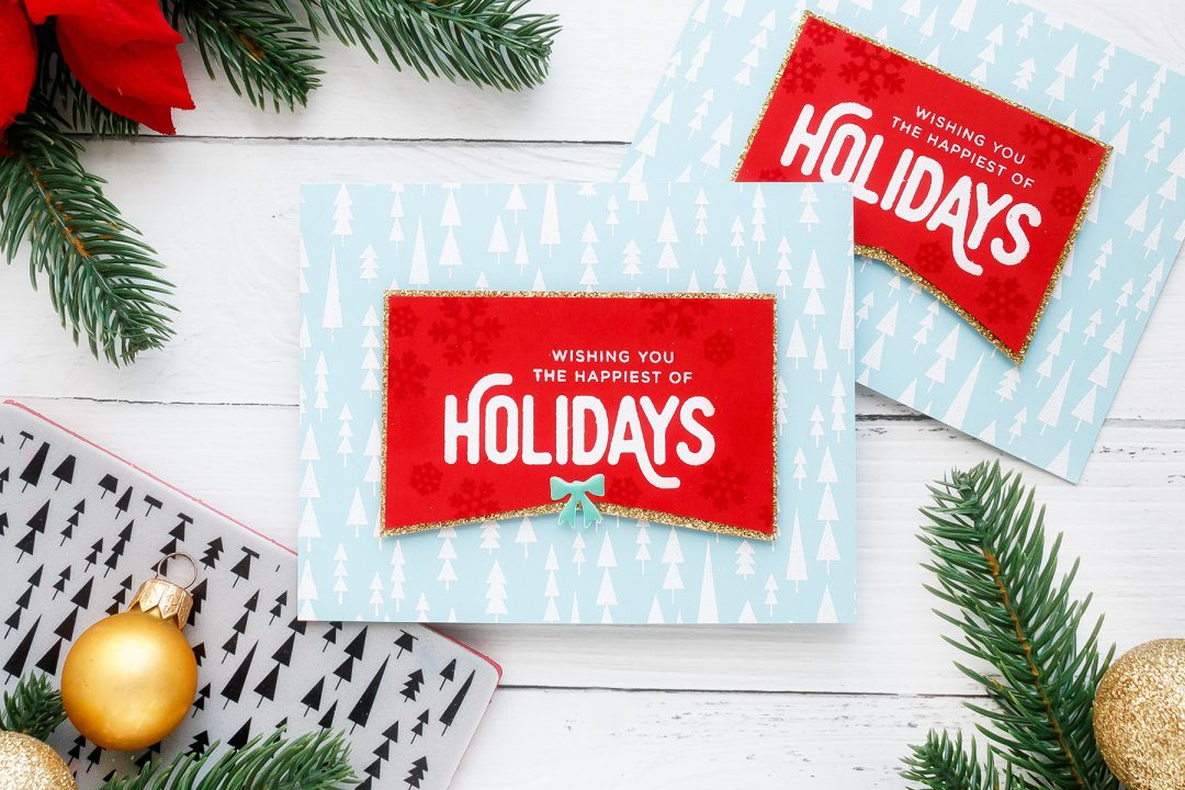 Happy Holidays Christmas Card by Yana Smakula for Simon Says Stamp. Video tutorial.