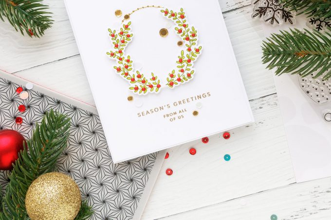 Clean & Simple Wreath Card with Gold Stitching. Handmade card by Yana Smakula for Simon Says Stamp