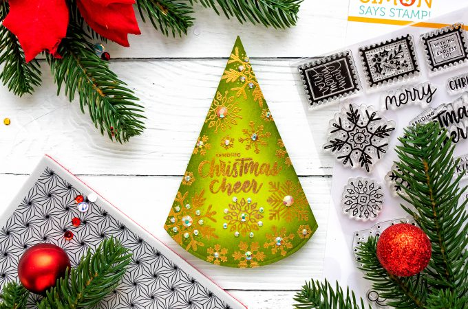 Triangle-Shaped Christmas Card by Yana Smakula for Simon Says Stamp