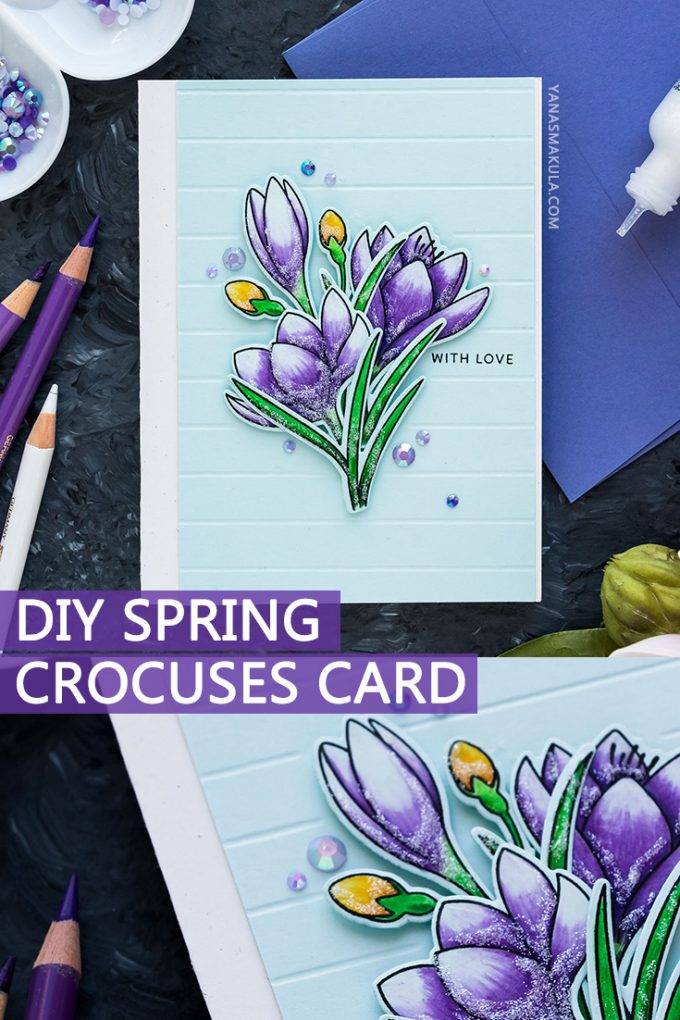 Pretty Pink Posh | Spring Crocuses Card by Yana Smakula featuring Polychromos Pencil Coloring