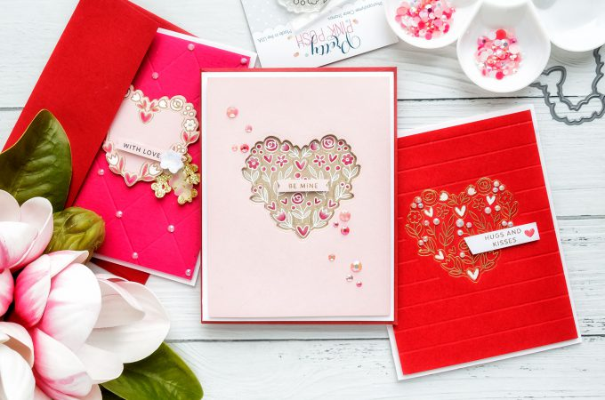 How to make foiled (and heat embossed) Valentine's Day Cards. Video tutorial by Yana Smakula for Pretty Pink Posh