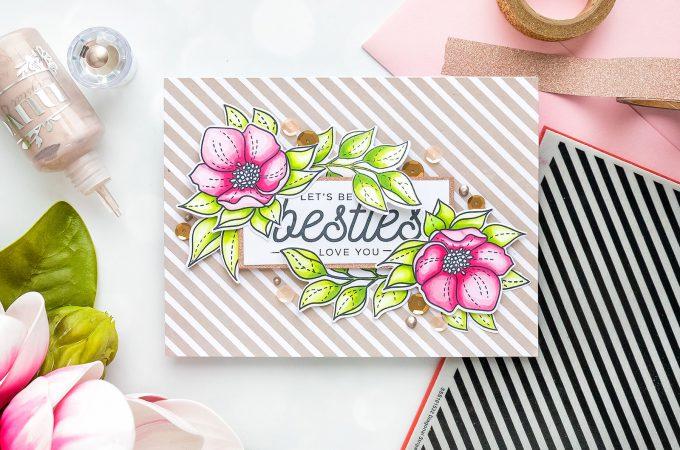 Simon Says Stamp | DIY Friendship Card - Let's Be Besties! Handmade card by Yana Smakula