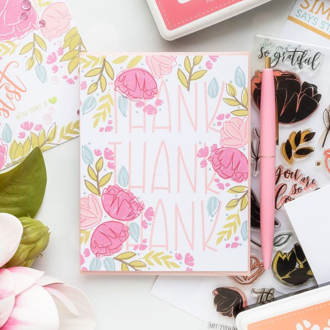One Layer Floral Cards 4 Ways. Video tutorial by Yana Smakula