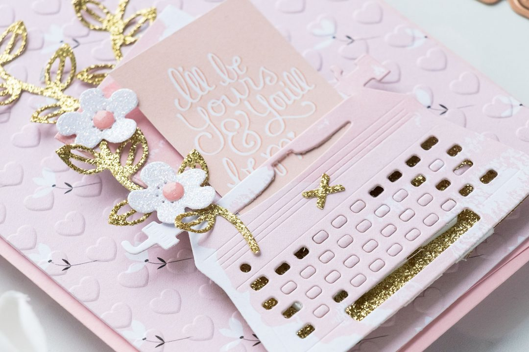 Spellbinders | January 2019 Card Kit - Typewriter Die Cards. Utilizing Scraps. Video tutorial by Yana Smakula. I'll by yours and you'll be mine handmade card