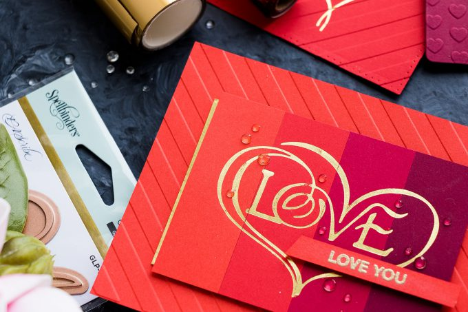 Foiled & Color Blocked Valentine's Day Love Card by Yana Smakula for Spellbinders. Video tutorial