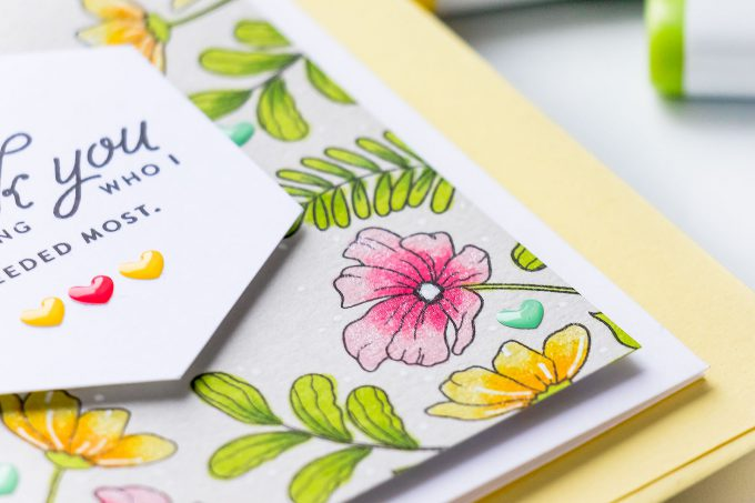 Simon Says Stamp | Spring Inspired Thank You Card featuring Copic Marker Coloring on colored cardstock. Video tutorial by Yana Smakula